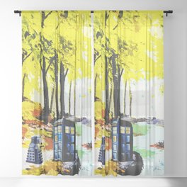 Tardis Art Speaking With Dalek Sheer Curtain