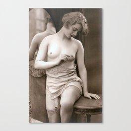 Vintage Nude Art Study R13 Lady In Underwear 2 Canvas Print