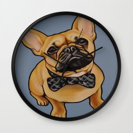 Portrait of a Fawn French Bulldog with a Bow-tie on blue background!  Wall Clock