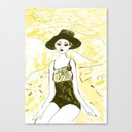 Woman on the beach 10 Canvas Print