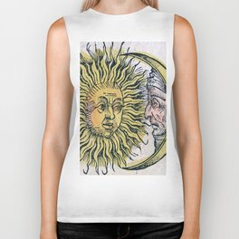 Sun and Moon Faces Biker Tank