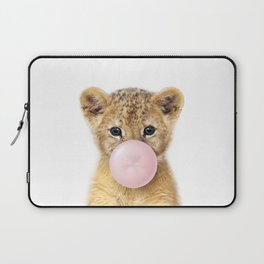 Baby Lion Blowing Bubble Gum, Pink Nursery, Baby Animals Art Print by Synplus Laptop Sleeve