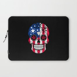 Sugar Skull with Roses and Flag of The United States Laptop Sleeve