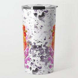 Watercolor rooster with sakura Travel Mug