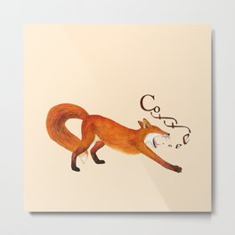 Coffee Fox Metal Print
