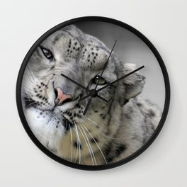 Leaning Snow Leopard Wall Clock