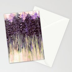 NORTHWEST VIBES Colorful Watercolor Painting Forest Trees Violet Green Modern Nature Art West Coast  Stationery Cards