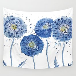 four blue dandelions watercolor Wall Tapestry