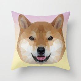 Shiba Inu Polygon Throw Pillow