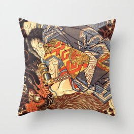 Fight With Tengu Throw Pillow