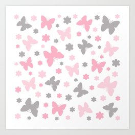 Pink and Grey Butterflies and Flowers Art Print