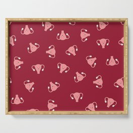Crazy Happy Uterus in Red, Large Serving Tray