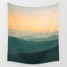 Landscape Photography Teal Turquoise Green Parallax Mountains Hills Orange Sunset Sky Minimalist Pho Wall Tapestry