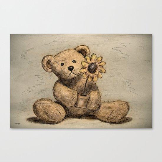 Teddybear with a sunflower Canvas Print