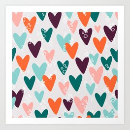 Colored hearts seamless pattern Art Print