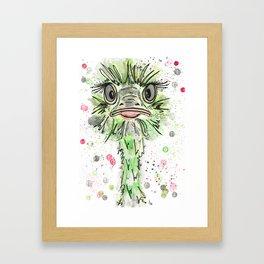 {Clarissa} the Ostrich Portrait Framed Art Print