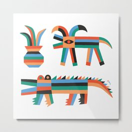 Animal friends chilling with potted plants by Matt Clinard Metal Print