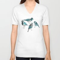 birds V-neck T-shirts featuring pale green birds by Polkip