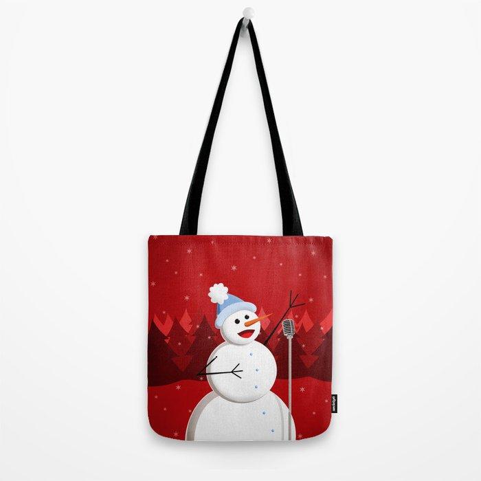Happy Singing Snowman Tote Bag