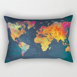 World Map blue #world #map Rectangular Pillow