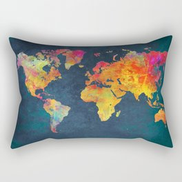 World Map blue #world #map Rectangular Pillow