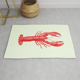 Pink Lobster on Linen Nautical Decor Rug