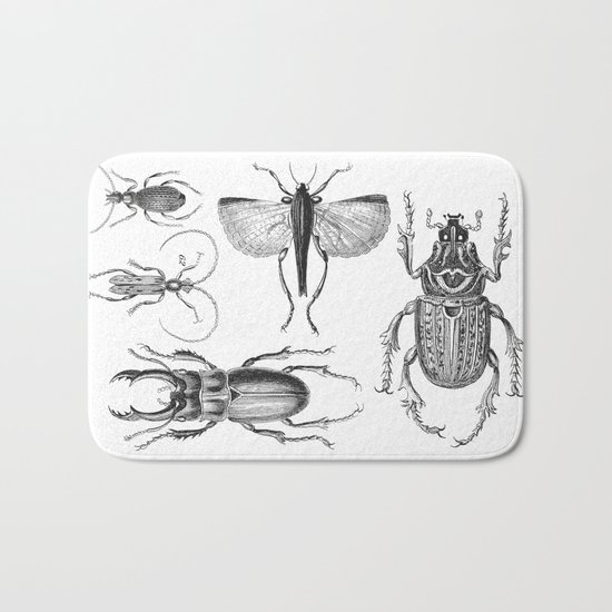 Vintage Beetle black and white drawing Bath Mat