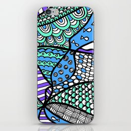 Doodle Art Drawing - Fishes and Waves - Blue Green Purple iPhone Skin
