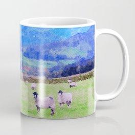 Nosy Sheep at Borrowdale, Lake District, UK Watercolor Painting Coffee Mug