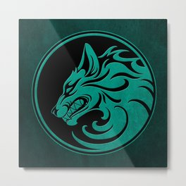 Teal Blue Growling Wolf Disc Metal Print