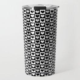 Black and White Hearts Check Pattern Travel Mug