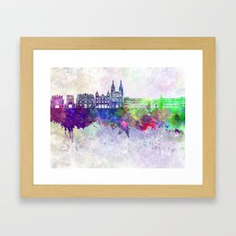Burgos skyline in watercolor background Framed Art Print
