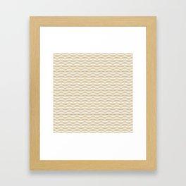 Gold and White Christmas Wavy Chevron Stripes Framed Art Print