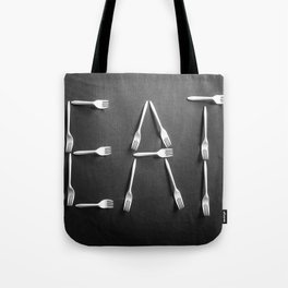 EAT alphabet with plastic forks in black and white Tote Bag