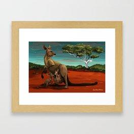 Kangaroos - Night Framed Art Print