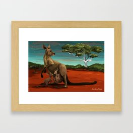 Kangaroos - Night Framed Art Print