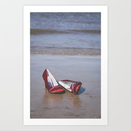 Red High-Heeled Shoes Art Print