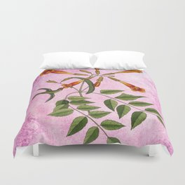 Hummingbird with Trumpet Vine, Vintage Natural History Collage Duvet Cover
