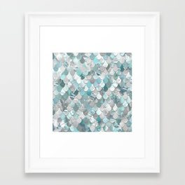 Mermaid Aqua and Grey Framed Art Print