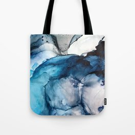 White Sand Blue Sea - Alcohol Ink Painting Tote Bag