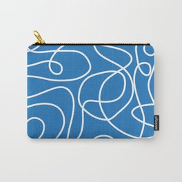 Doodle Line Art   White Lines on Bright Blue Carry-All Pouch