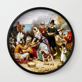 The First Thanksgiving 1621 By Jean Leon Gerome Ferris Wall Clock