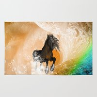 running Area & Throw Rugs featuring Running horse by nicky2342