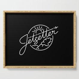 Jetsetter - White ink on black Serving Tray