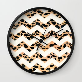 Baby Leopard Chevron, Art Watercolor painting by Suisai Genki Wall Clock
