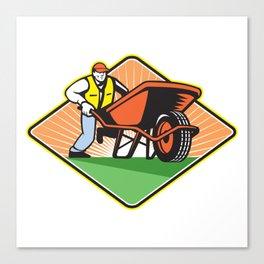 Gardener Pushing Wheelbarrow Retro Canvas Print