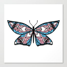 Fly With Pride: Transgender Flag Butterfly Canvas Print
