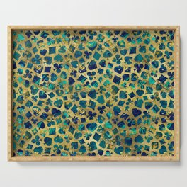 Gold and Marble Suits Pattern Digital Art Serving Tray
