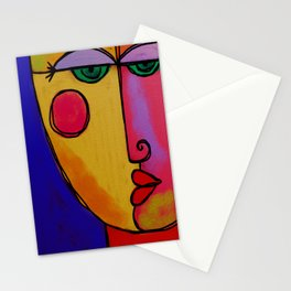 Colorful Abstract Face Digital Painting Stationery Cards