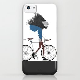 Hipster Lion and his Bicycle iPhone Case